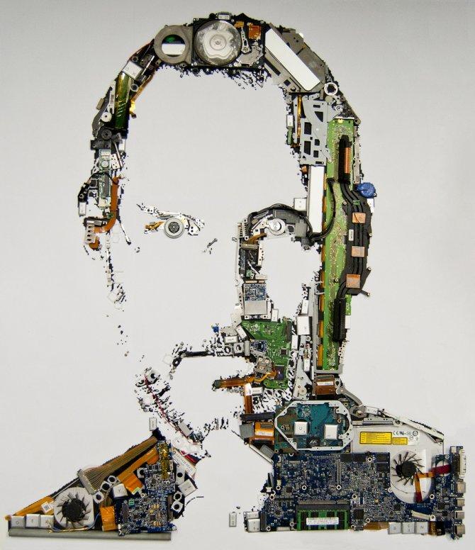 Steve Jobs Ritratto con Macbook Pro