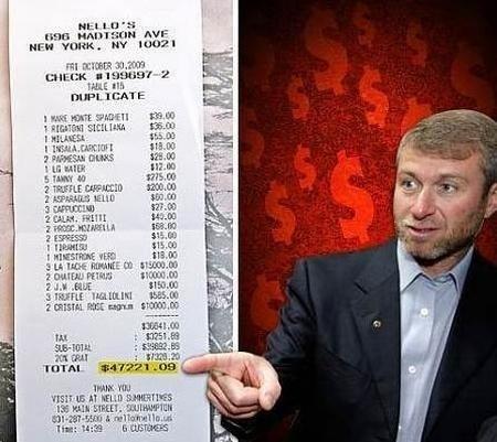 Lunch For Russian Billionaire Roman Abramovich - $47,221