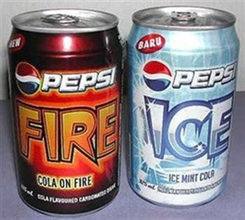 Fire (hot cinnamon) and Ice (cool mint) Pepsi (Guam, Thailand, Malaysia, Singapore and Philippines)