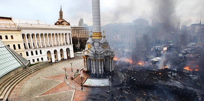 kiev ukraine independence square before and after 1