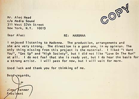 madonna rejection letter  oPt1