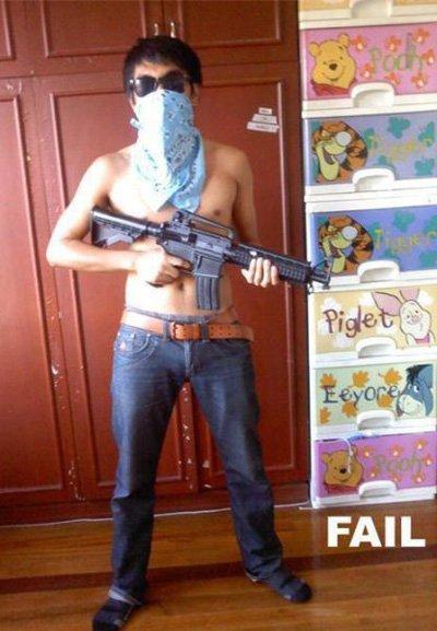 badass fails pooh gun