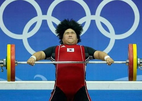 weight lifter hair flying