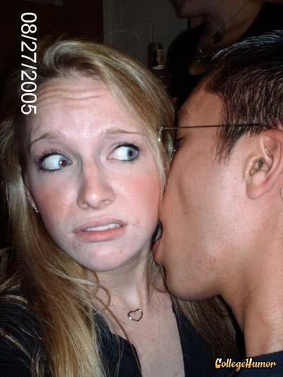 awkward kisses kiss face