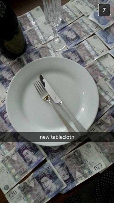 rich kids snapchat tablecloth