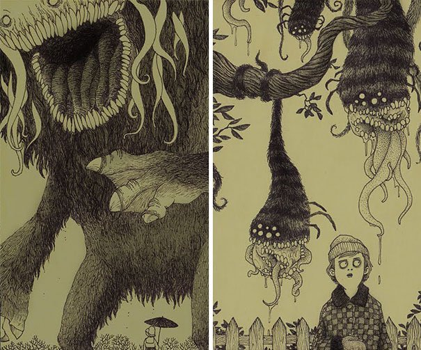 creepy monsters sticky notes drawings don kenn 12