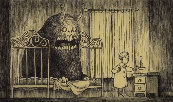 creepy monsters sticky notes drawings don kenn 13