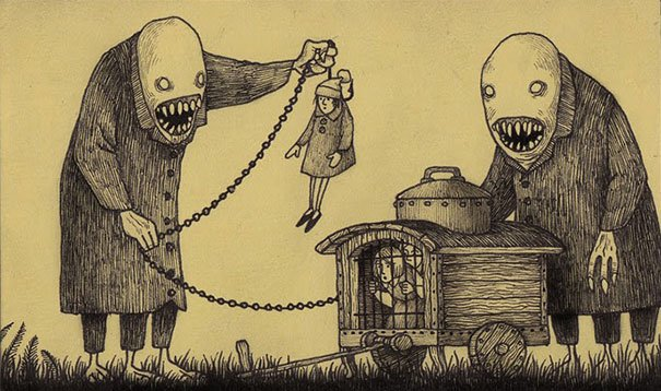 creepy monsters sticky notes drawings don kenn 18