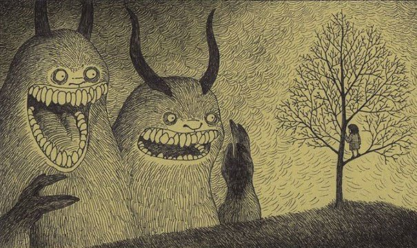 creepy monsters sticky notes drawings don kenn 21