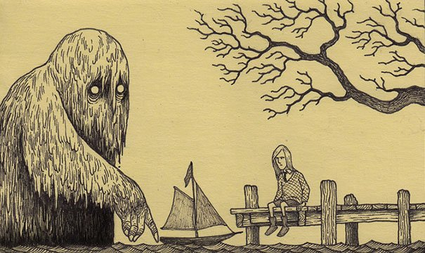 creepy monsters sticky notes drawings don kenn 22