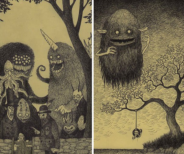 creepy monsters sticky notes drawings don kenn 24