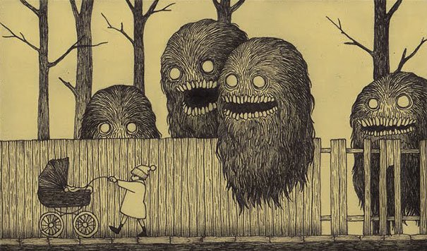 creepy monsters sticky notes drawings don kenn 3