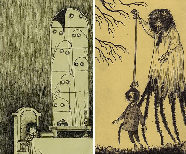 creepy monsters sticky notes drawings don kenn 4