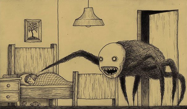 creepy monsters sticky notes drawings don kenn 5