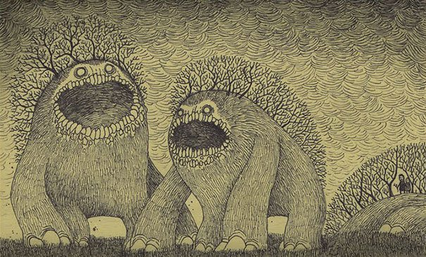 creepy monsters sticky notes drawings don kenn 7