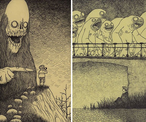 creepy monsters sticky notes drawings don kenn 8