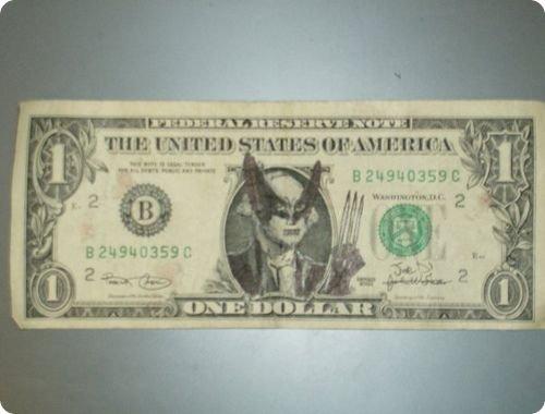 banconote modificate disegni dollari supereroi 48