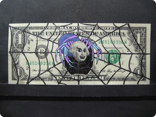 banconote modificate disegni dollari supereroi 40