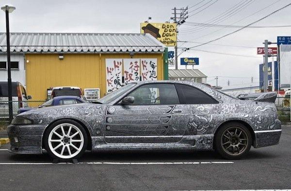 auto decorata pennarello 3