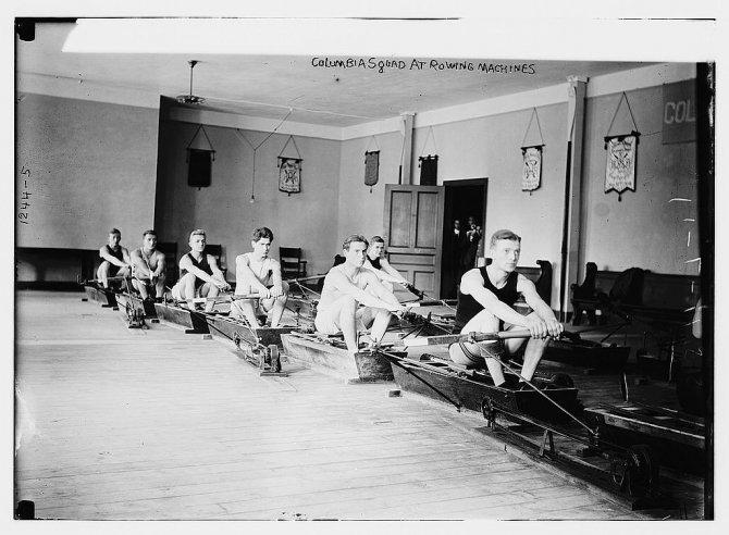 Columbia Squad at rowing machines (LOC)