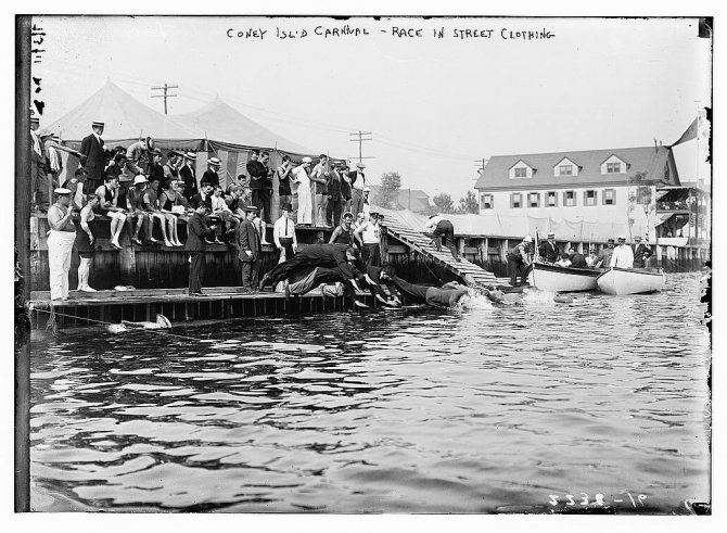 Coney Island Carnival - Race in street clothing [swimming] (LOC)