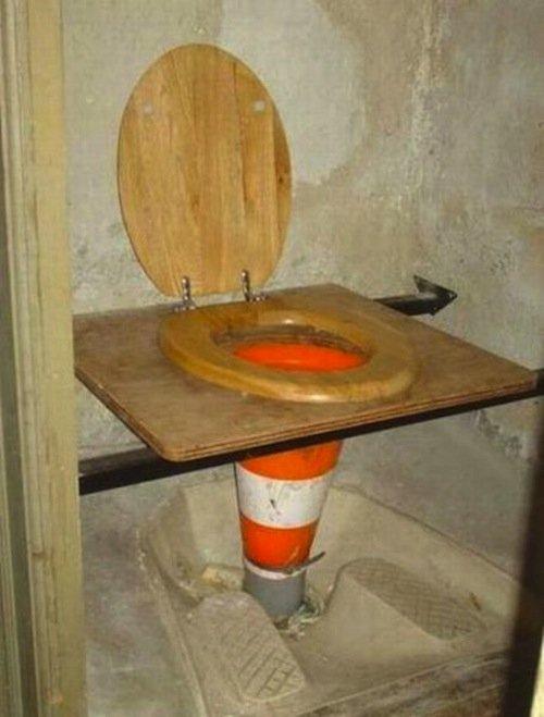 11 ghetto homemade traffic cone toilet