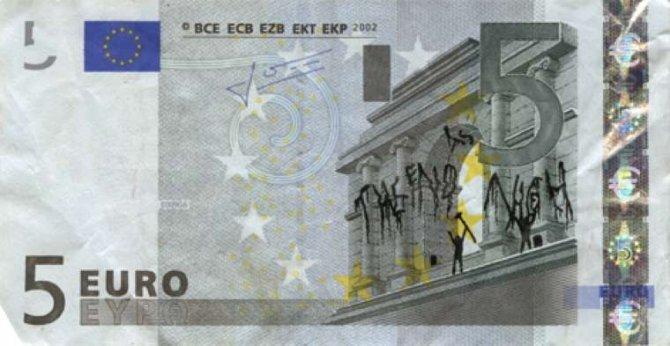 banconote euro protesta grecia 2