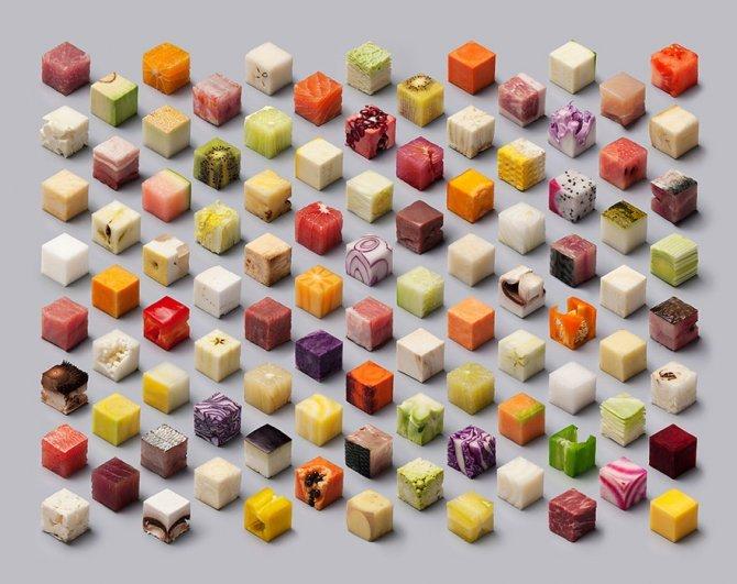 cibo tagliato cubi 1