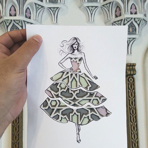 paper cutout art fashion design architecture shamekh 2