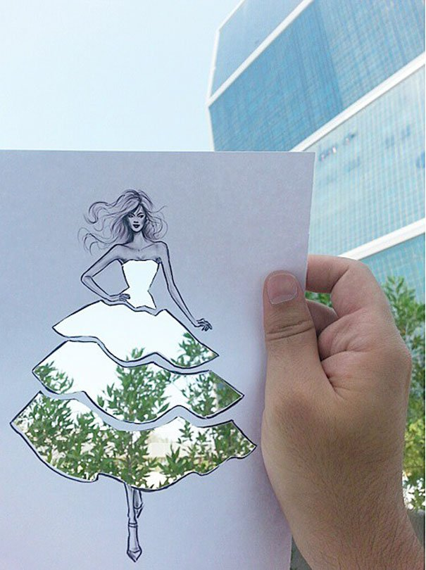 paper cutout art fashion design architecture shamekh 5