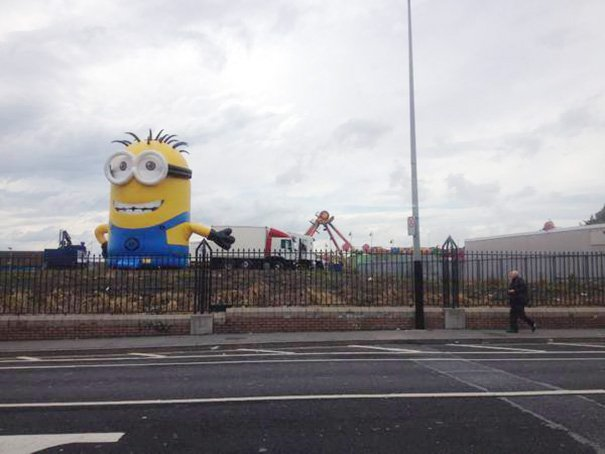 inflatable minion despicable me loose traffic ireland 2