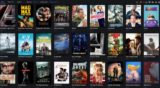 La schermata iniziale di Popcorn Time