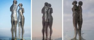 metal statue love story ali nino tamara kvesitadze georgia fb 700