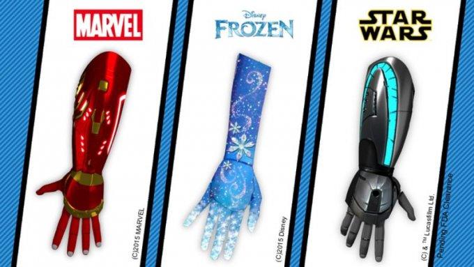 La tre protesi a tema Marvel, Frozen e Star Wars