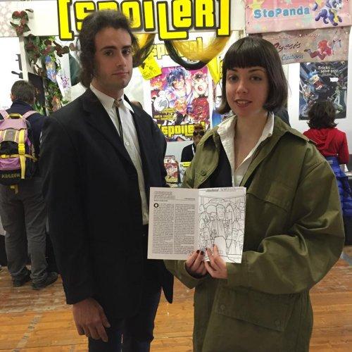Vincent e Mia di Pulp Fiction con la loro copia al Lucca Comics & Games