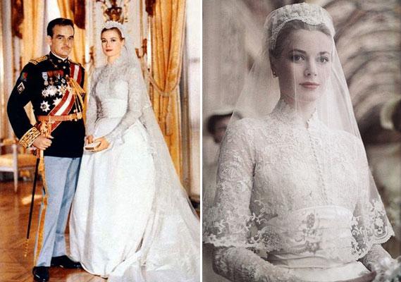 Grace con l'abito nuziale al matrimonio con Ranieri di Monaco