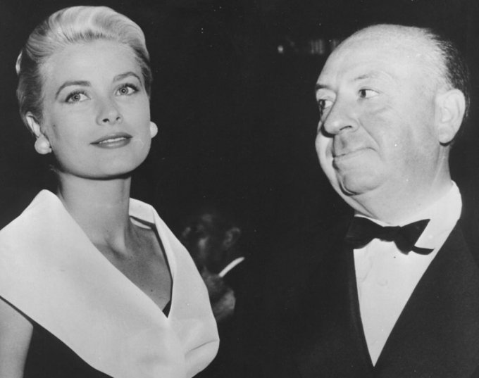 Grace Kelly e Alfred Hitchcock, foto in bianco e nero