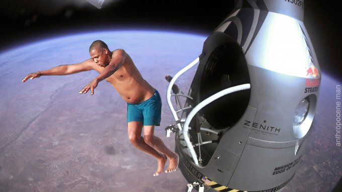 Pilot Felix Baumgartner of Austria jumps out from the capsule during the final manned flight for Red Bull Stratos in Roswell, New Mexico, USA on October 14, 2012.