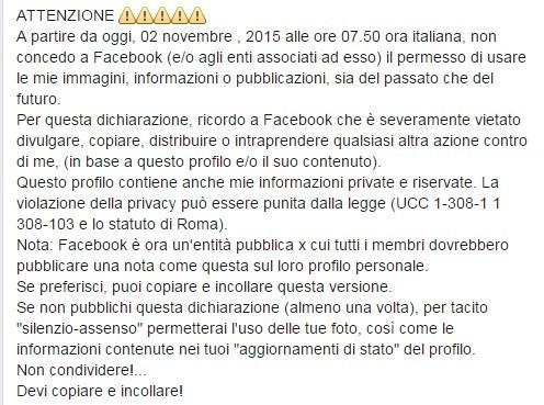 Post contro Facebook