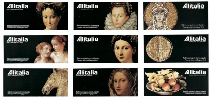 Fu di Franco Maria Ricci l'idea di rappresentare opere d'arte sui pieghevoli destinati a proteggere i biglietti aerei Alitalia. Era l'epoca in cui i biglietti aerei non erano un foglio stampato da un amico: erano veri biglietti.