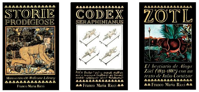 Alcuni volumi pubblicati Franco Maria Ricci Editore, tra cui il Codex Seraphinianus del 1981.