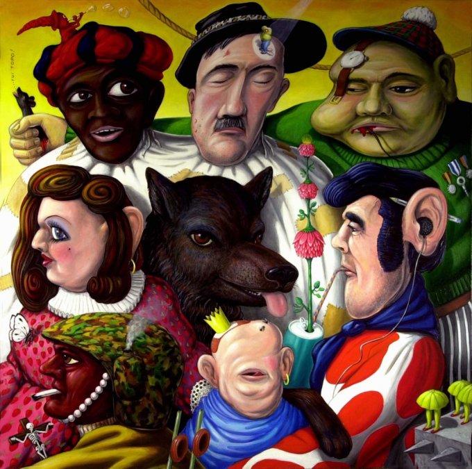 Gran circo umanotico ,1999 olio su tela , cm 100 x 100