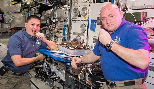 Astronauti assaggiano insalata coltivata in assenza di gravità. Dalle facce sembra un po' meh