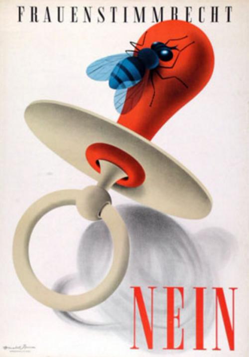 Un manifesto svizzero contro il voto per le donne, stavolta degli anni cinquanta
