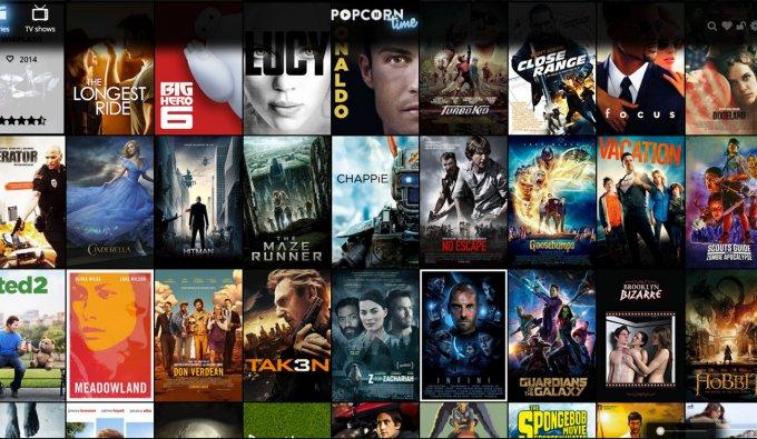 La home page del nuovo Popcorn Time