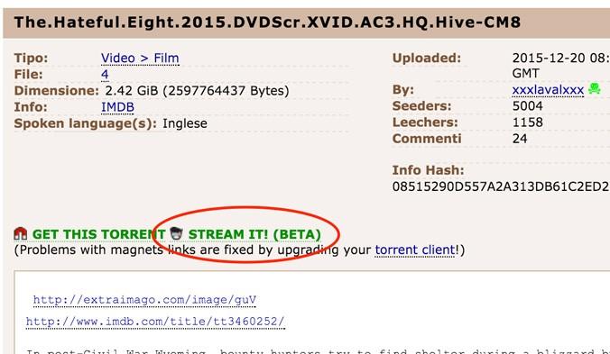 La nuova funzionalità di streaming video di Pirate Bay
