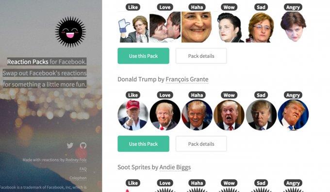 La home di page di Reaction Packs: c'è anche Trump