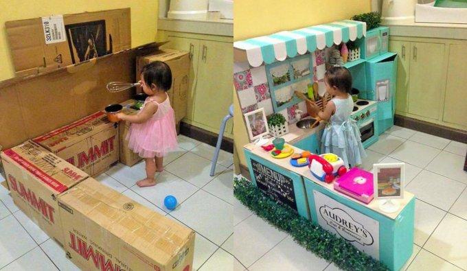 La cucina di cartone di Audrey, prima e dopo
