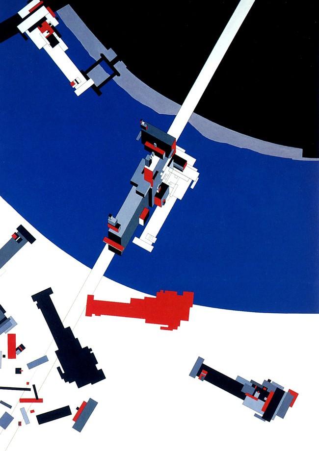 Malevich's Tektonik è uno dei primi progetti di Zaha Hadid (1976-1977). È un vero e proprio dipinto, con influenze futuriste e decostruttiviste.