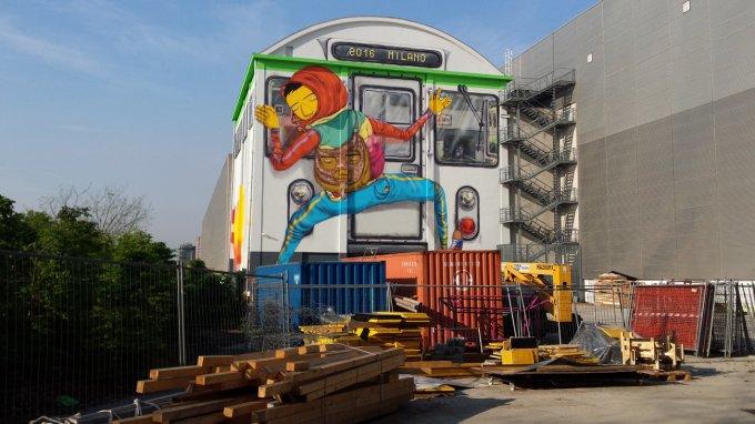Il murale di OSGEMEOS all'HangarBicocca di Milano - Foto: Gabriele Ferraresi